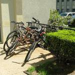 One of two bike racks available